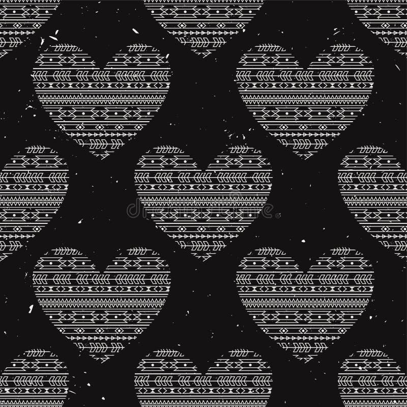 Vector naadloos patroon met etnische harten vector illustratie