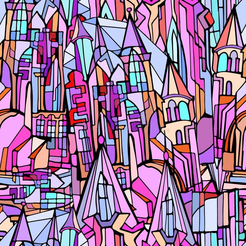 Vector naadloos patroon met fictieve Gotische stad stock foto