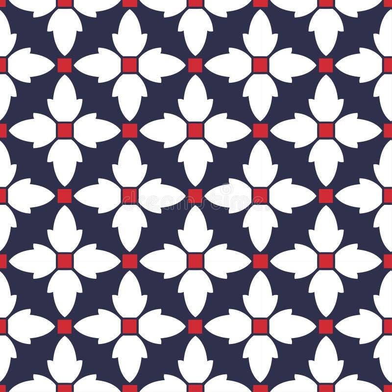 Vector naadloos in patroon met geometrische gestileerde bloemen, romantische eenvoudige klassieke textuur voor behang stock illustratie