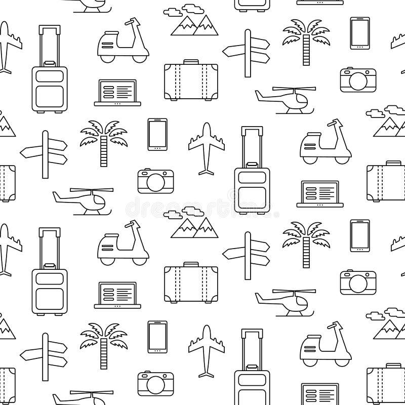Vector naadloos patroon met geplaatste de pictogrammen van de Reisvakantie royalty-vrije illustratie
