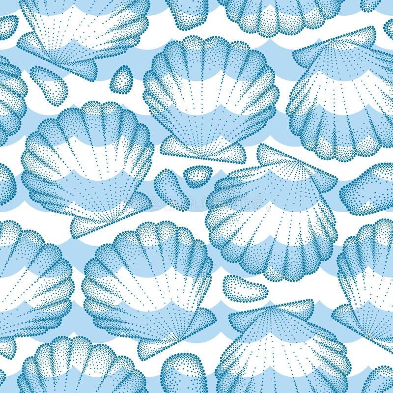 Vector naadloos patroon met gestippelde Overzeese shell of Kammossel in blauw, kiezelstenen en golven Marien en aquatisch thema vector illustratie