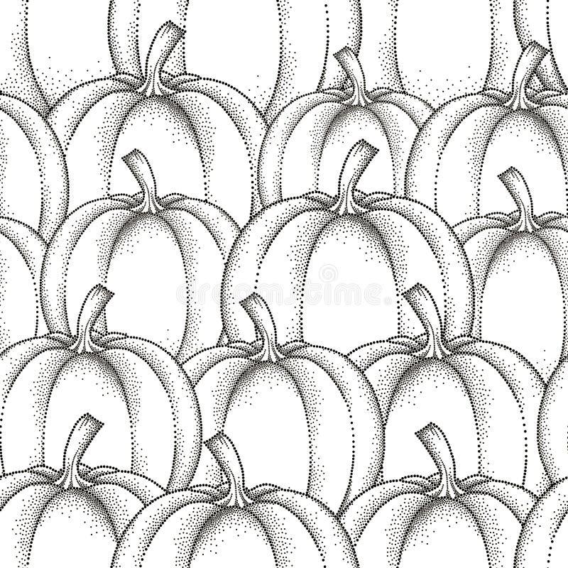 Vector naadloos patroon met gestippelde pompoen of pompoen in zwarte op de witte achtergrond Vruchten elementen in dotworkstijl royalty-vrije illustratie