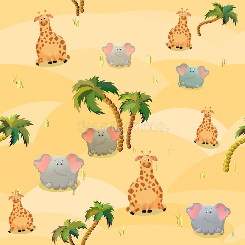 Vector naadloos patroon met giraf, olifanten en palmen Leuk vet beeldverhaalkarakter Het concept pretontwerp voor kleding royalty-vrije illustratie