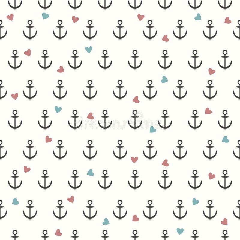Vector naadloos patroon met grijze ankers en gekleurde harten royalty-vrije illustratie