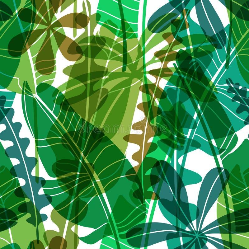 Vector naadloos patroon met groene getrokken tropische bladeren diverse vorm Vlak botanisch behang, moderne bloemen stock illustratie