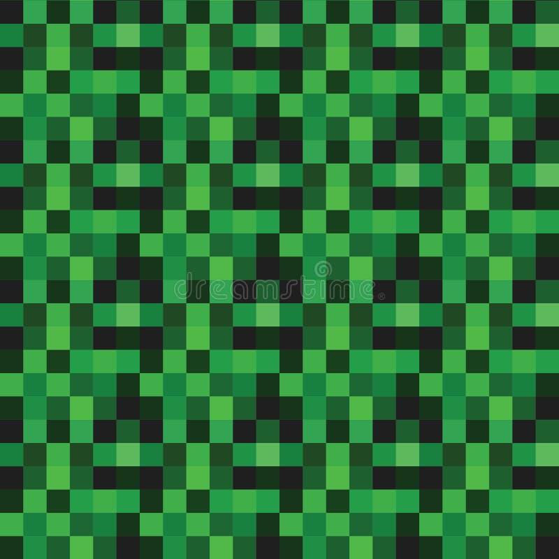Vector Naadloos patroon met groene pixel stock illustratie