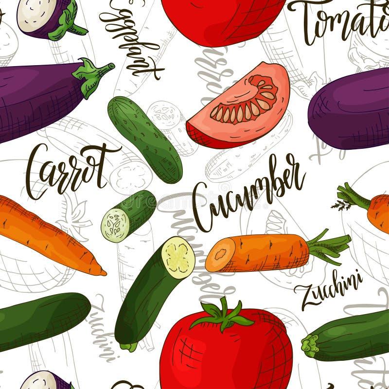 Vector naadloos patroon met groenten Komkommer en wortel en tomaten en aubergineachtergrond Hand getrokken elementen stock illustratie