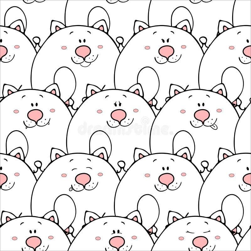 Vector naadloos patroon met hand-drawn grappige leuke vette dieren Silhouetten van dieren op een witte achtergrond Prettextuur me vector illustratie