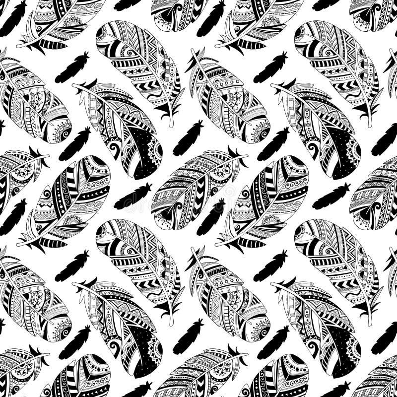 Vector naadloos patroon met hand-drawn veren stock illustratie