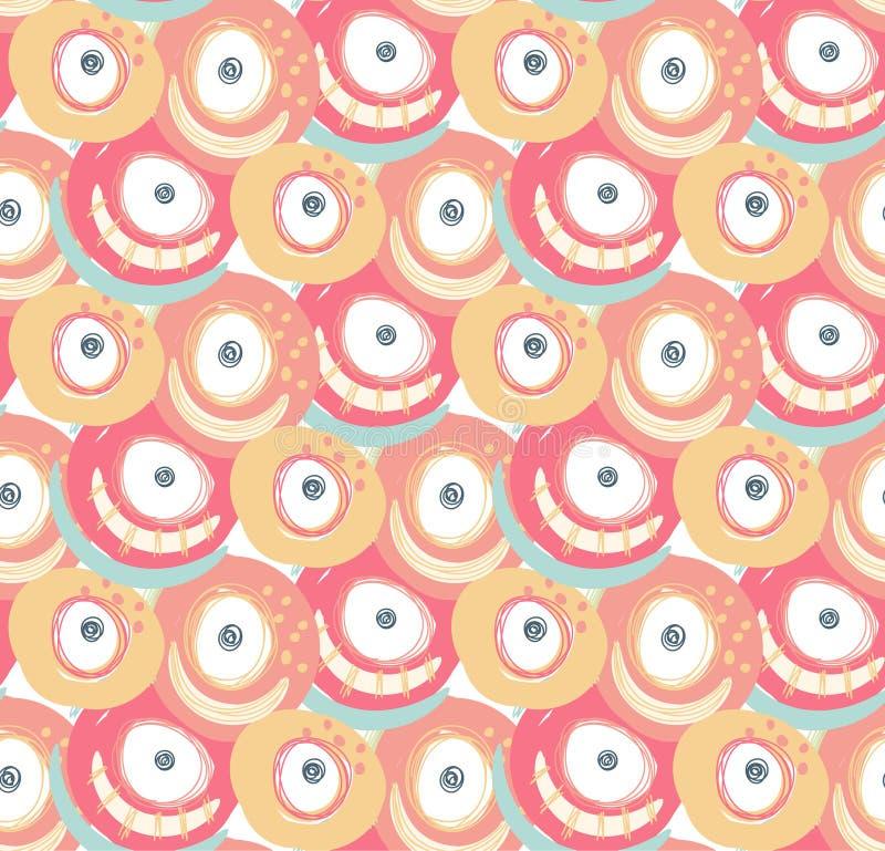 Vector naadloos patroon met hand getrokken abstracte vormen, gekrabbel Vlekken en vlekken van verf Ontwerp met krabbel stock illustratie