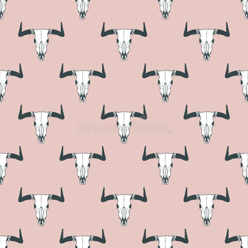 Vector naadloos patroon met hand getrokken buffelsschedels De stammenachtergrond van de stijlpastelkleur stock illustratie