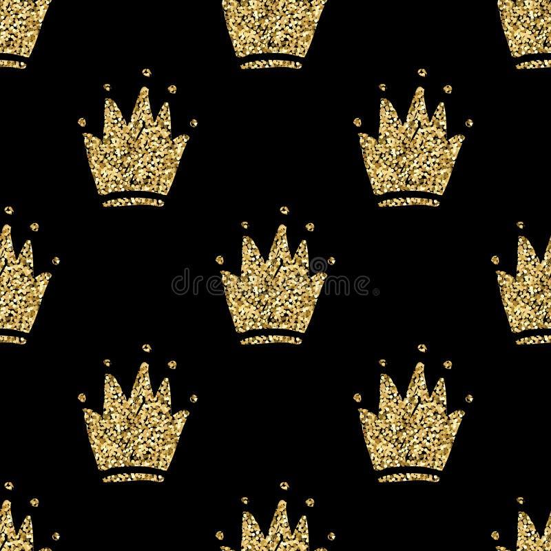 Vector naadloos patroon met hand getrokken gouden silhouetten van kronen royalty-vrije illustratie