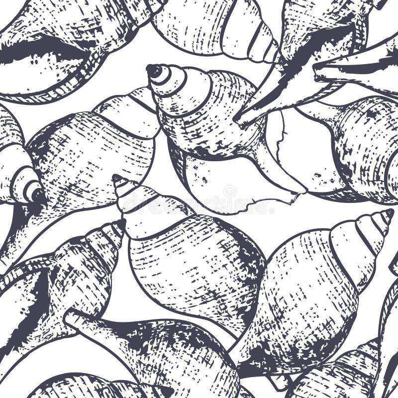 Vector naadloos patroon met hand getrokken overzichts spiraalvormige overzeese shells De zwart-witte achtergrond van de schetssti vector illustratie
