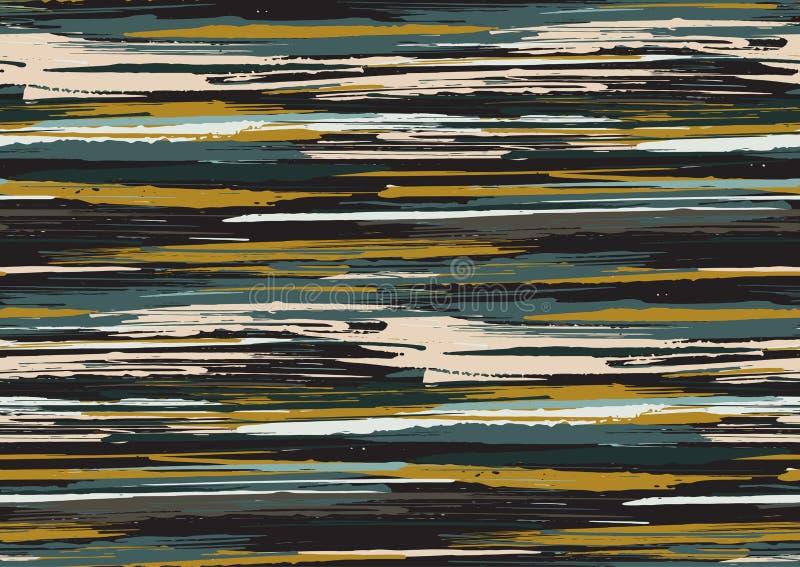 Vector naadloos patroon met hand getrokken ruwe van randen geweven kwaststreken en strepen geschilderde hand royalty-vrije illustratie