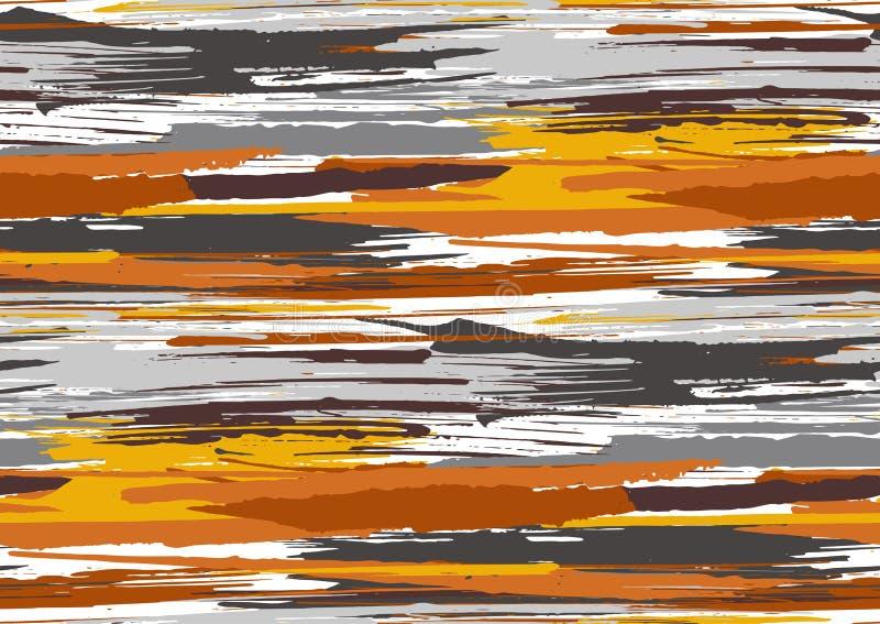 Vector naadloos patroon met hand getrokken ruwe van randen geweven kwaststreken en strepen geschilderde hand vector illustratie