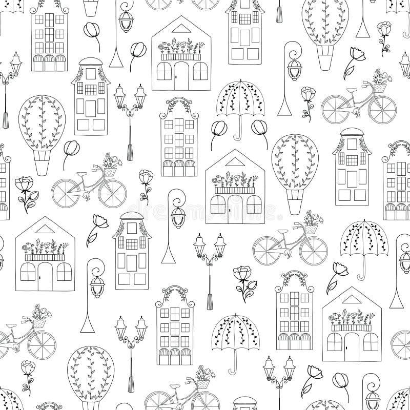 Vector naadloos patroon met hand getrokken symbolen van Nederland stock illustratie
