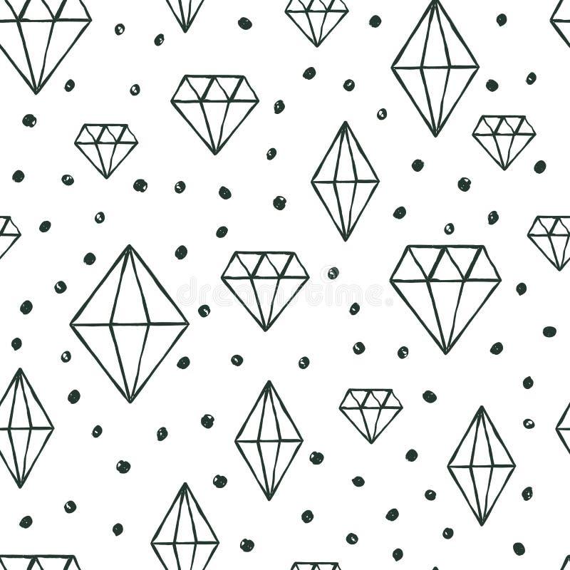 Vector naadloos patroon met hand getrokken waterverfdiamant cryst royalty-vrije illustratie