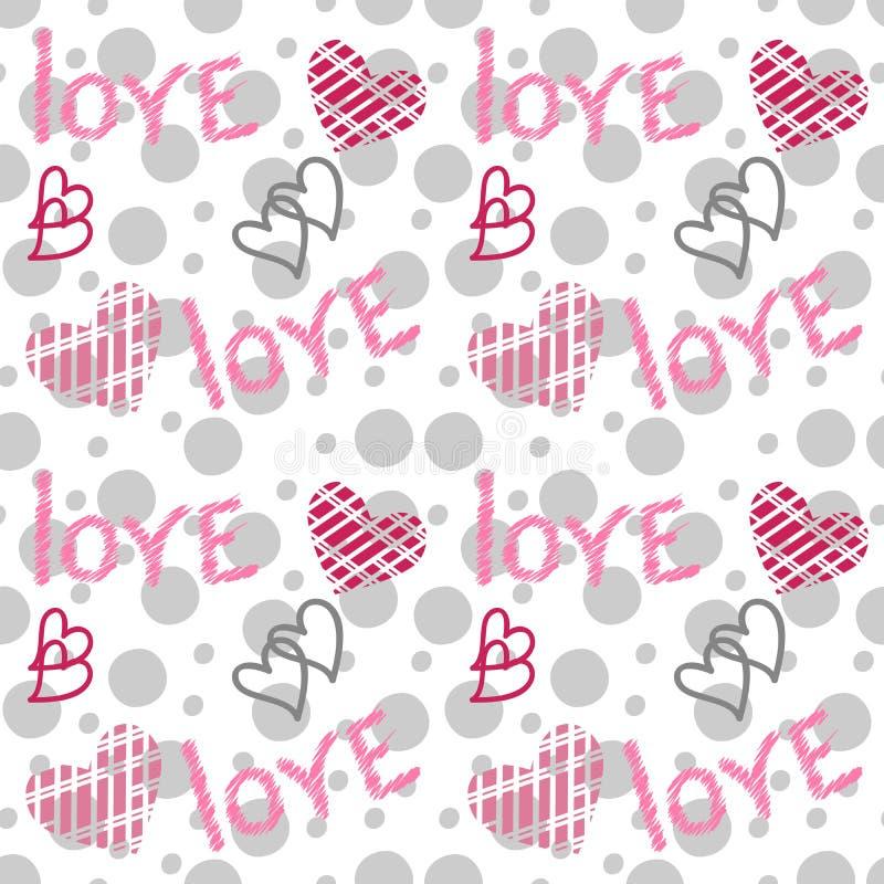 Vector naadloos patroon met harten en het van letters voorzien Het grijze en roze liefde schrijven stock illustratie