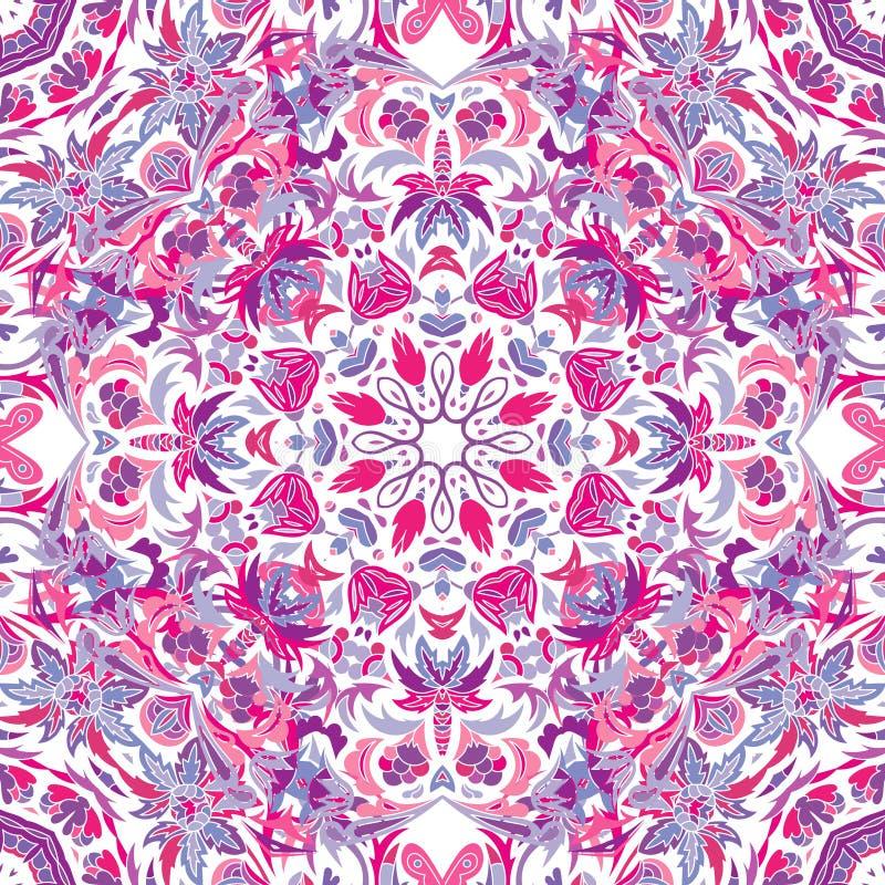 Vector naadloos patroon met helder bloemenornament Uitstekend ontwerpelement in Oostelijke stijl Sierkanttracery stock illustratie