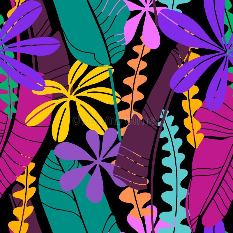 Vector naadloos patroon met heldere getrokken tropische bladeren diverse vorm en kleur Mainmalistic vlak botanisch behang vector illustratie