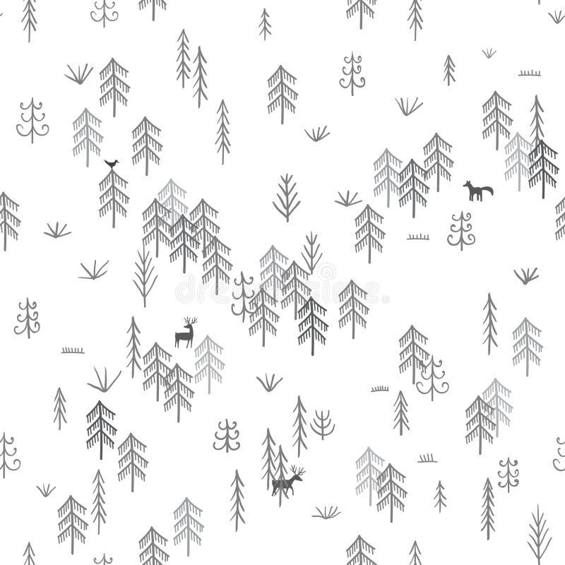 Vector naadloos patroon met het wilde bosleven met wolf de jacht vector illustratie