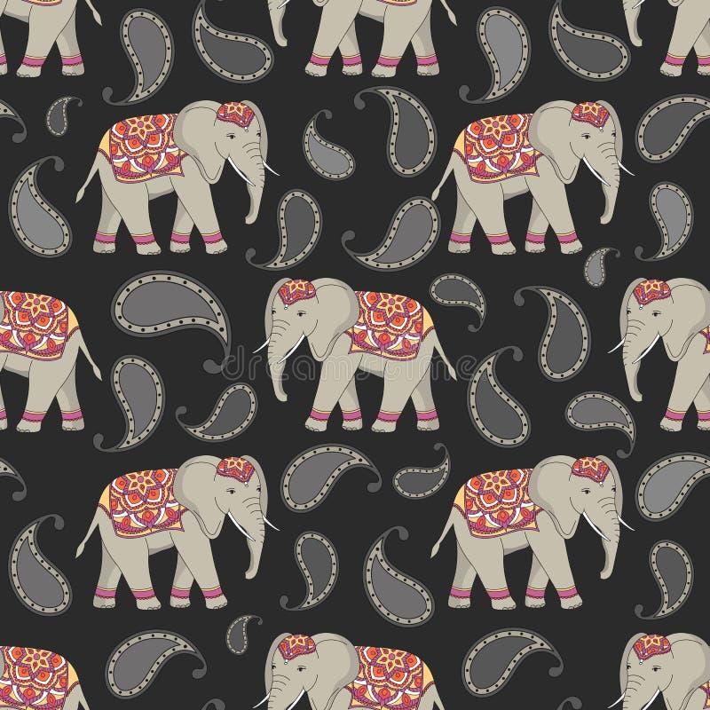 Vector naadloos patroon met Indische verfraaide olifanten vector illustratie