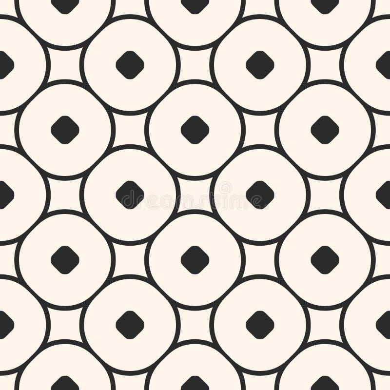 Vector naadloos patroon met kleine cirkels en rond lineair net, cirkelnetwerk stock illustratie