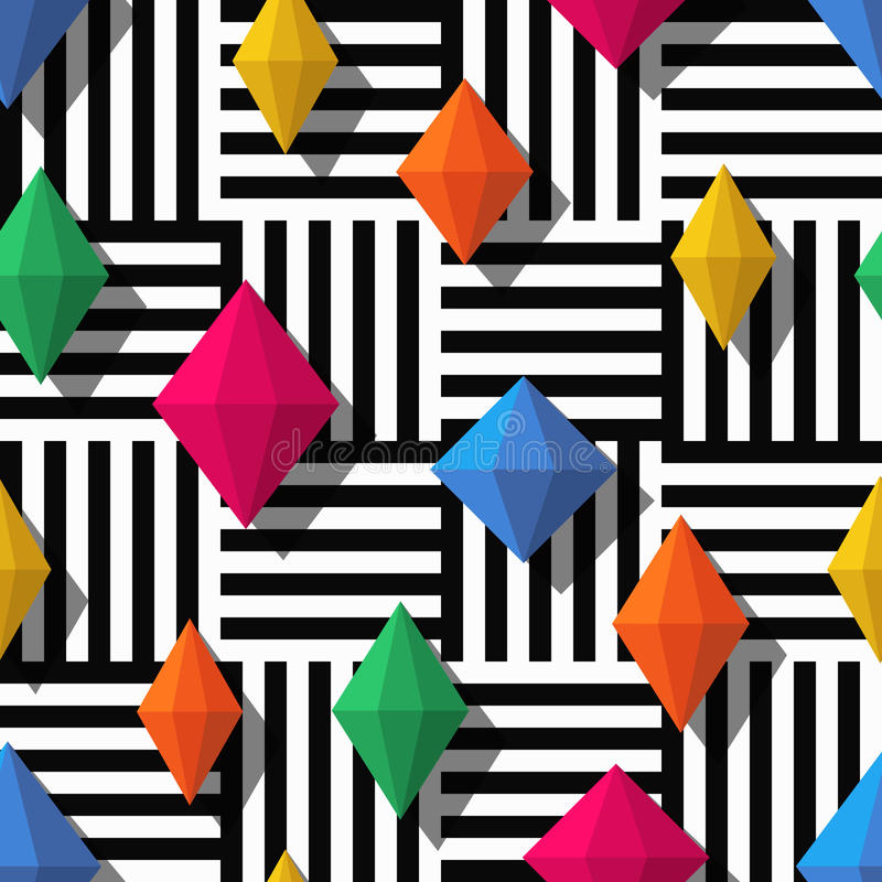 Vector naadloos patroon met kleurrijke diamanten of gemmen vector illustratie