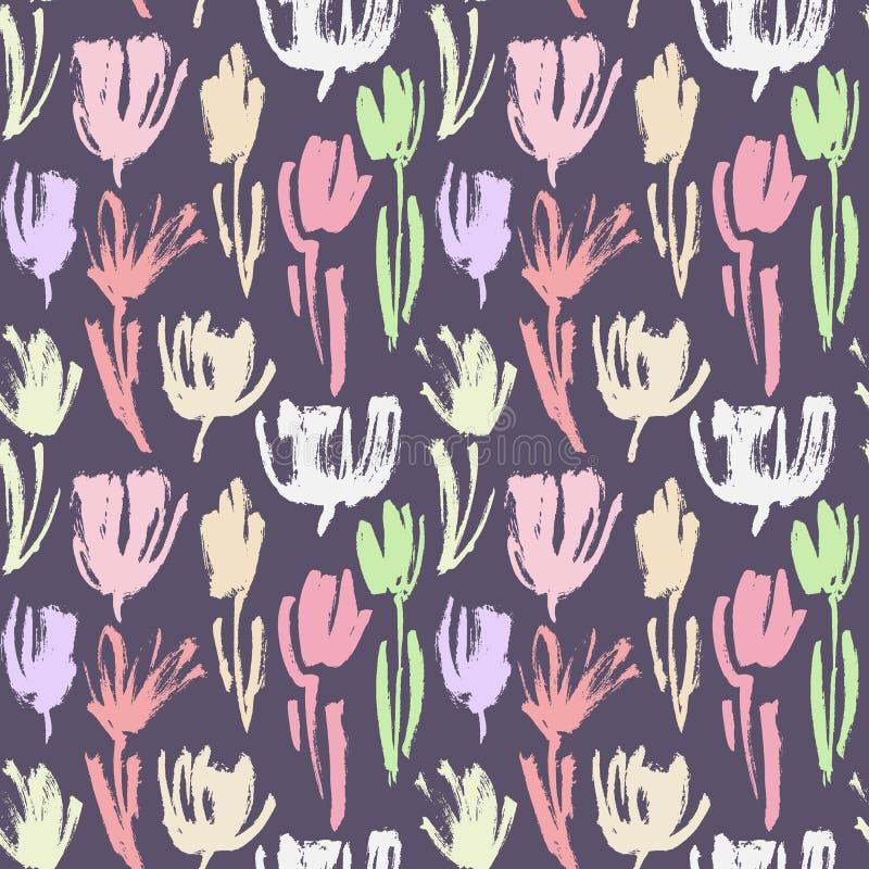Vector naadloos patroon met kleurrijke geschilderde bloemen, artistieke botanische illustratie, multikleuren bloemenelementen vector illustratie