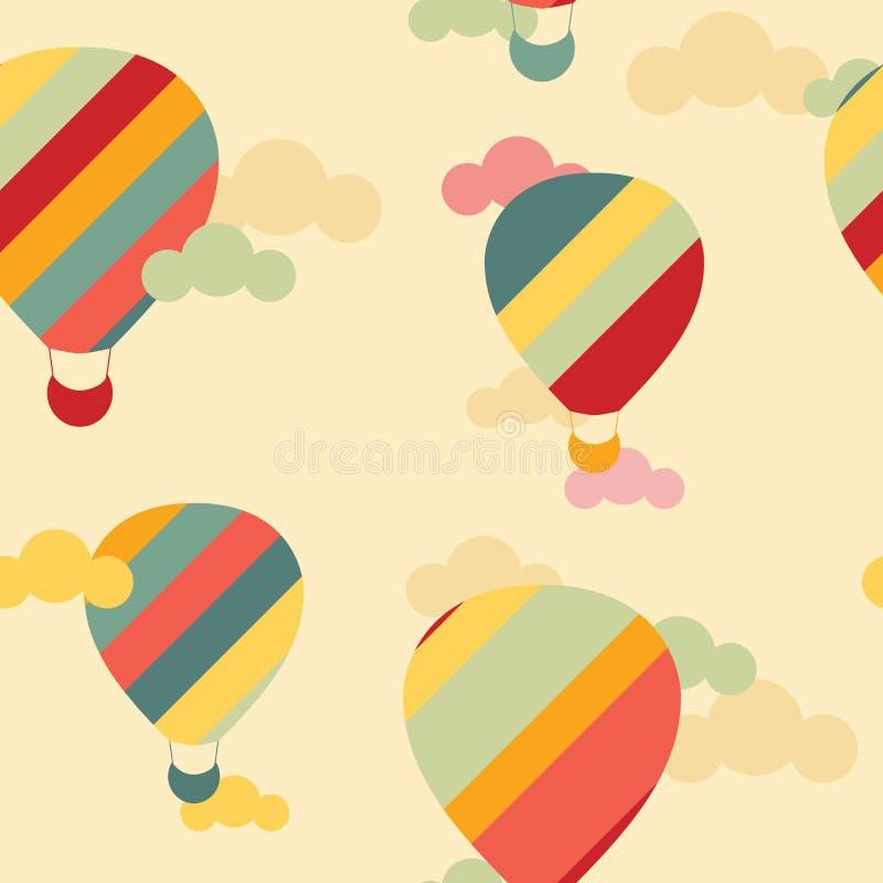 Vector naadloos patroon met kleurrijke hete luchtballons royalty-vrije stock foto