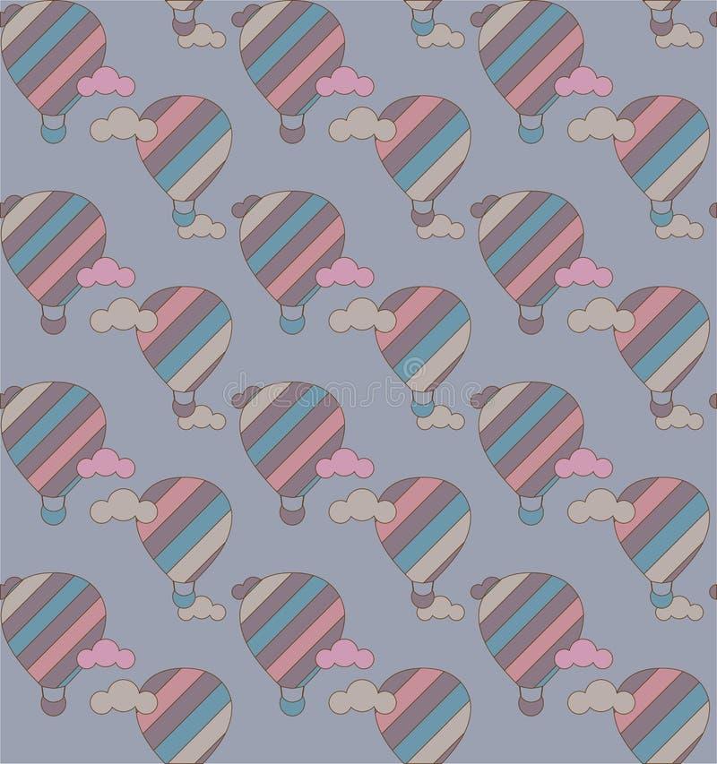 Vector naadloos patroon met kleurrijke hete luchtballons op de hemel royalty-vrije illustratie