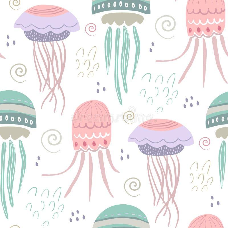Vector naadloos patroon met kleurrijke kwallen Het mariene leven, onderwaterwereld royalty-vrije illustratie