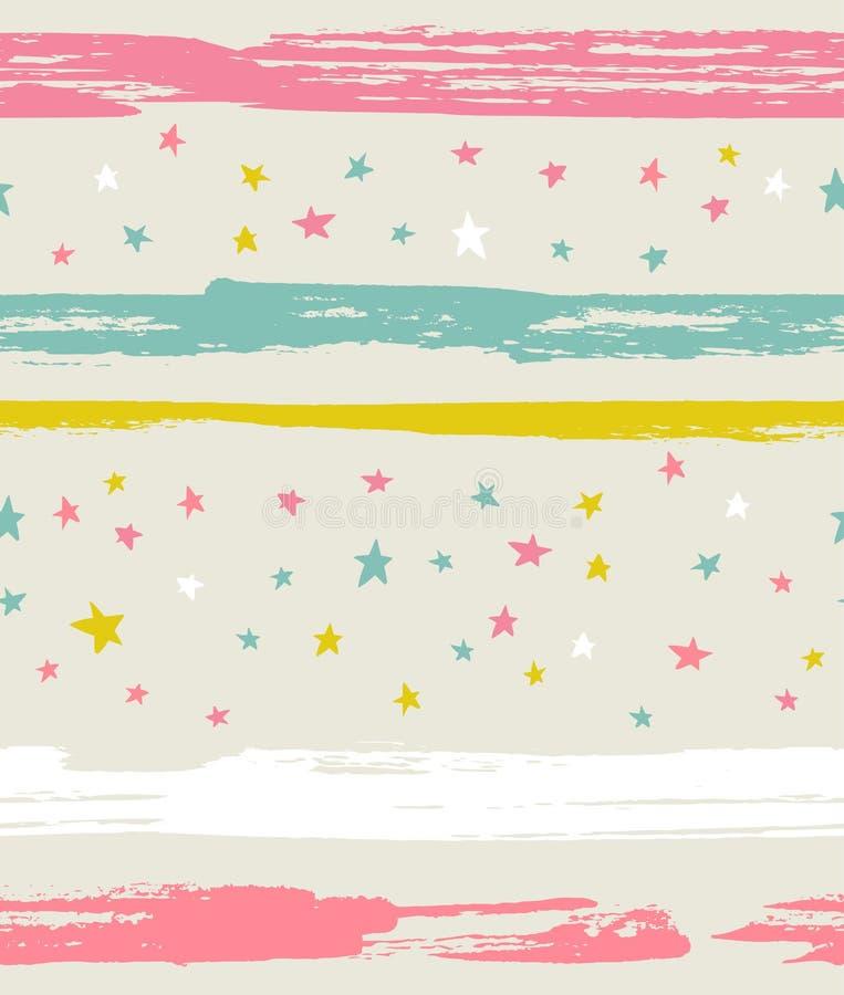 Vector naadloos patroon met kleurrijke sterren en strepen vector illustratie