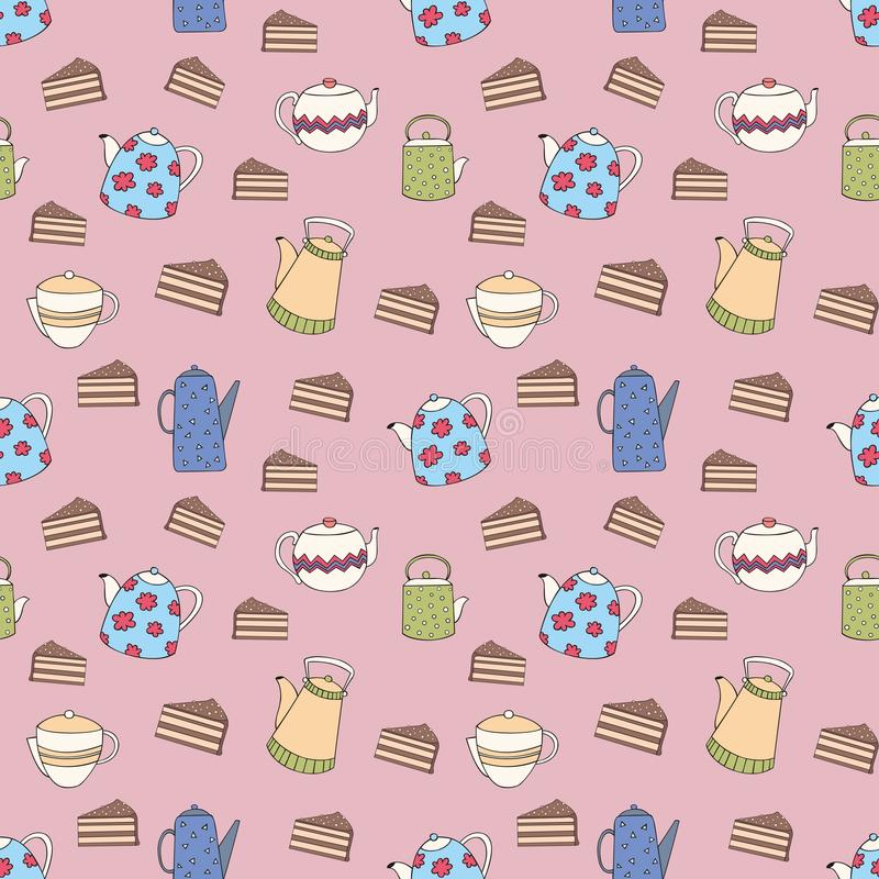 Vector naadloos patroon met kleurrijke theepotten en cakes Decoratieve achtergrond voor ontwerp vector illustratie