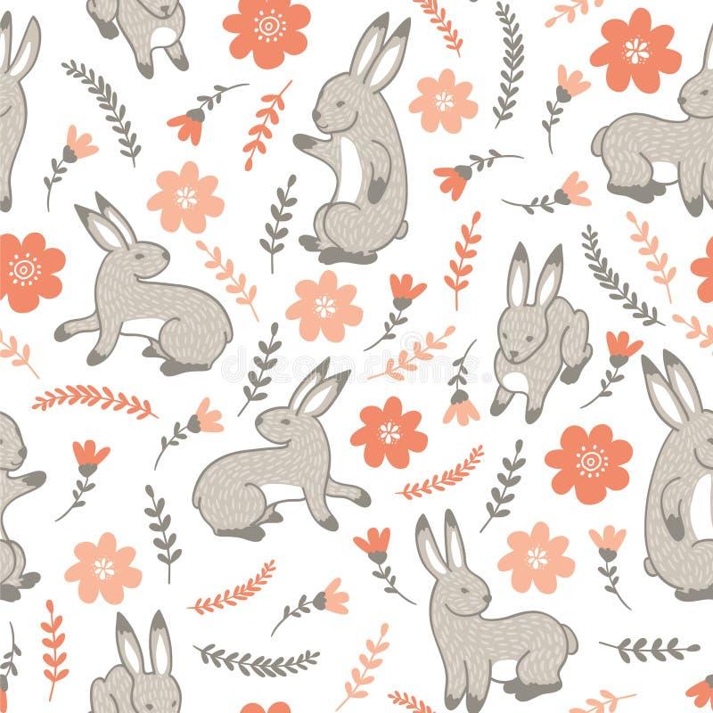 Vector naadloos patroon met konijnen royalty-vrije illustratie