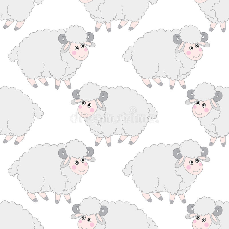 Vector Naadloos Patroon met Leuk Schapen Vectorlam Vectorillustratie van het schapen de Naadloze Patroon royalty-vrije illustratie