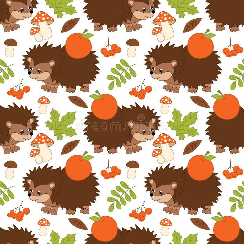 Vector Naadloos Patroon met Leuke Egels, Paddestoelen, Bessen en Bladeren Forest Hedgehog Seamless Pattern royalty-vrije illustratie