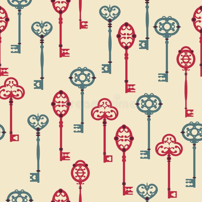 Vector naadloos patroon met leuke uitstekende sleutels vector illustratie