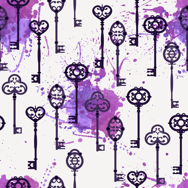 Vector naadloos patroon met leuke uitstekende sleutels royalty-vrije illustratie