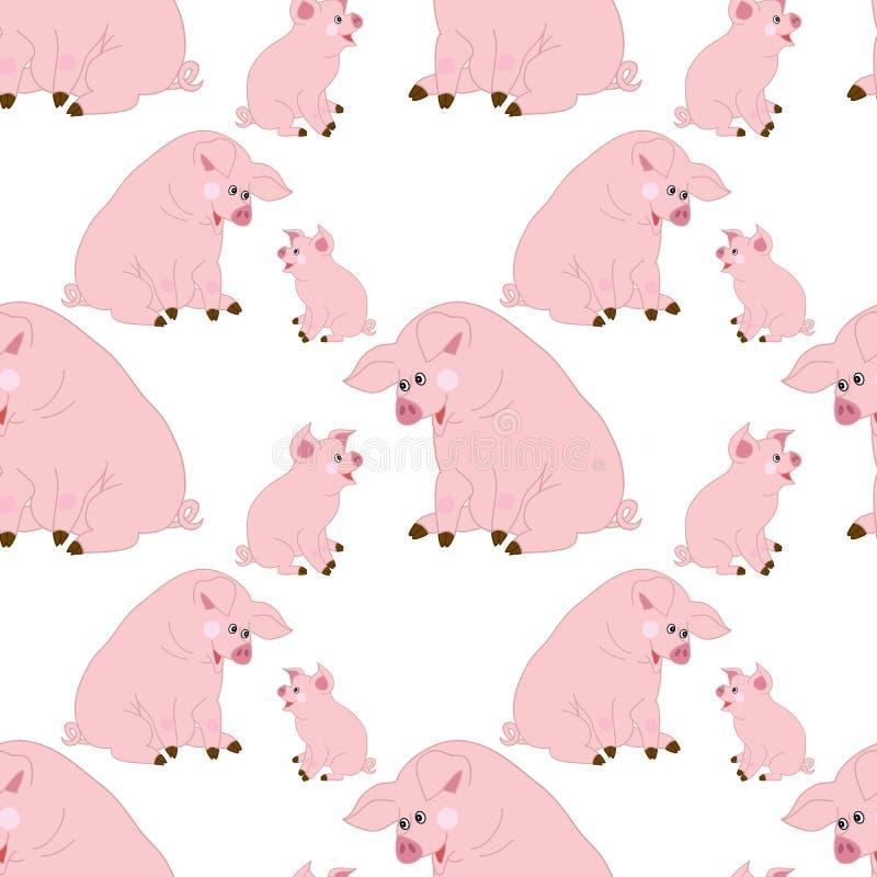 Vector naadloos patroon met leuke varkens Vectorbabyvarken Het naadloze patroon van het varken royalty-vrije illustratie