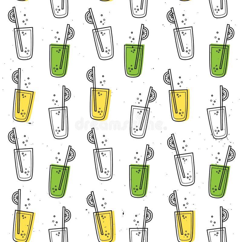 Vector naadloos patroon met limonade Achtergrond voor kinderen` s menu, dranken Hand getrokken stijl vector illustratie