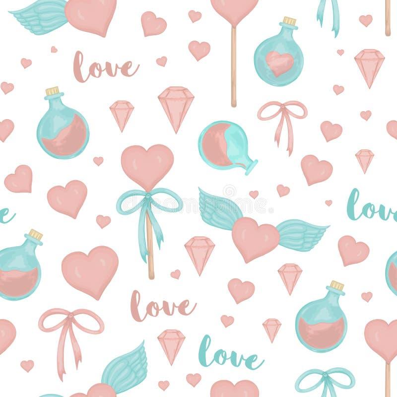 Vector naadloos patroon met lollyharten, bogen, wondermiddel, vleugels op witte achtergrond De leuke magische stijl van de liefde vector illustratie