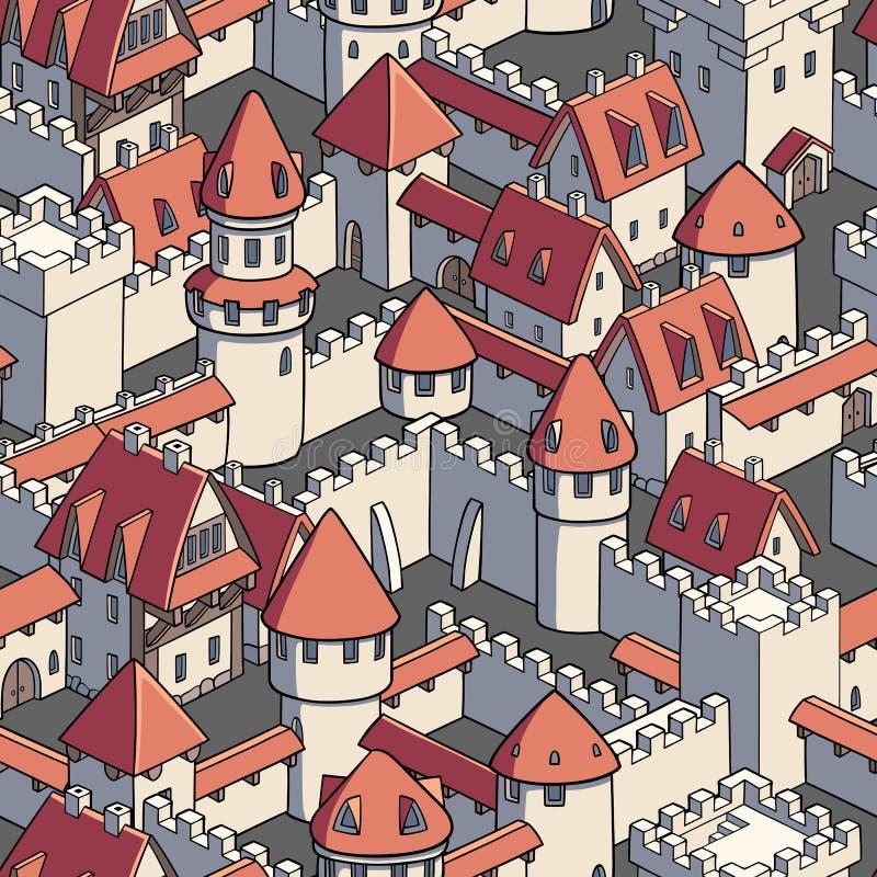 Vector naadloos patroon met middeleeuwse architectuur Leuke beeldverhaalstad stock illustratie