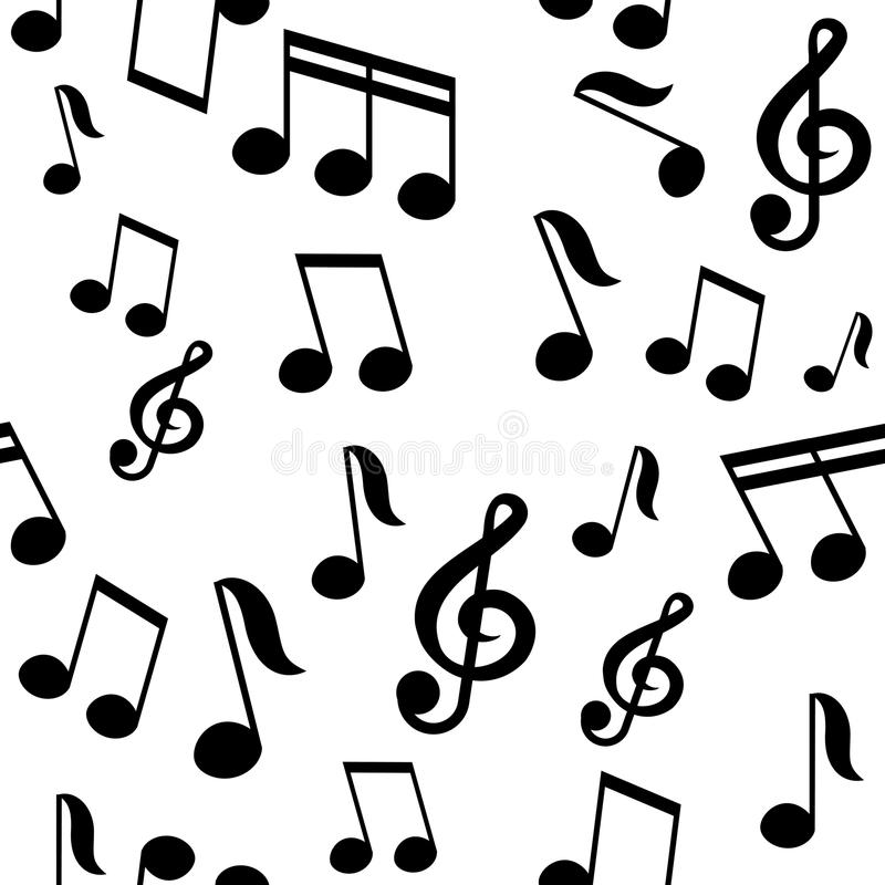 Vector naadloos patroon met muzieknota's royalty-vrije illustratie
