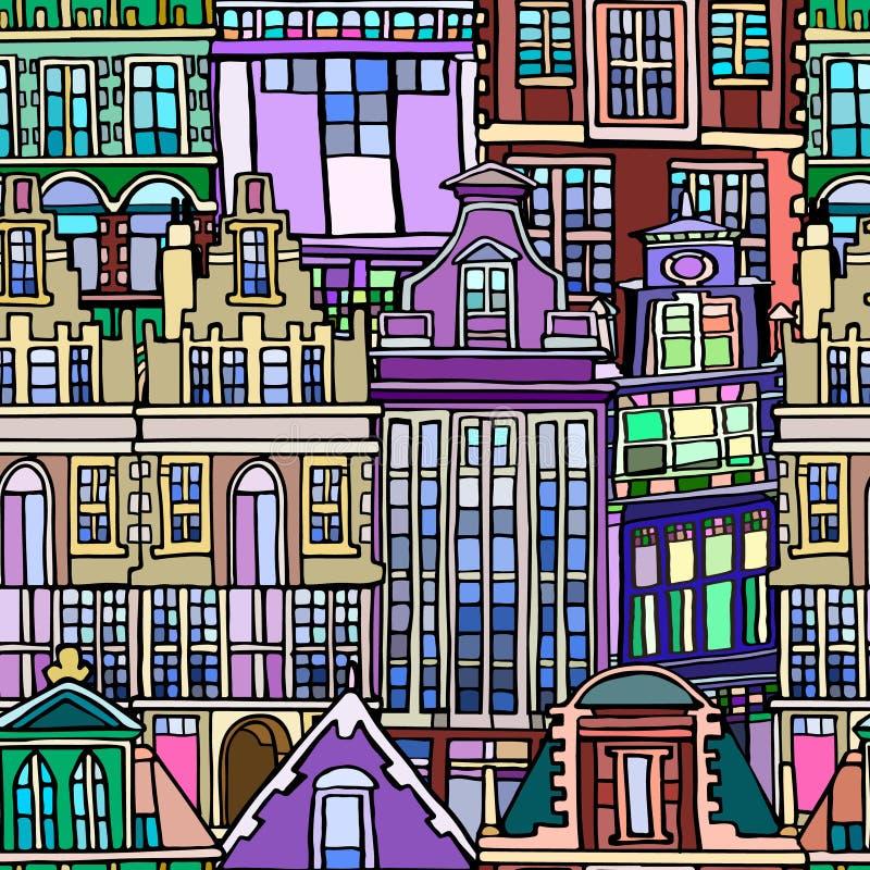Vector naadloos patroon met Nederlandse fictieve uitstekende huizen stock afbeeldingen