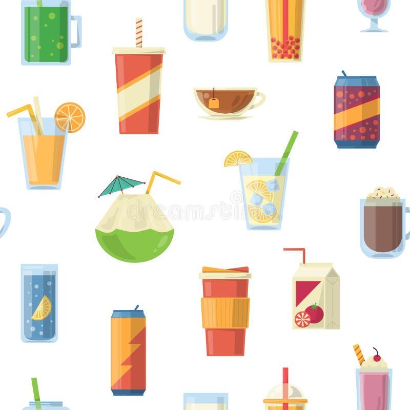 Vector naadloos patroon met niet alcoholische dranken Vector graphhics royalty-vrije illustratie