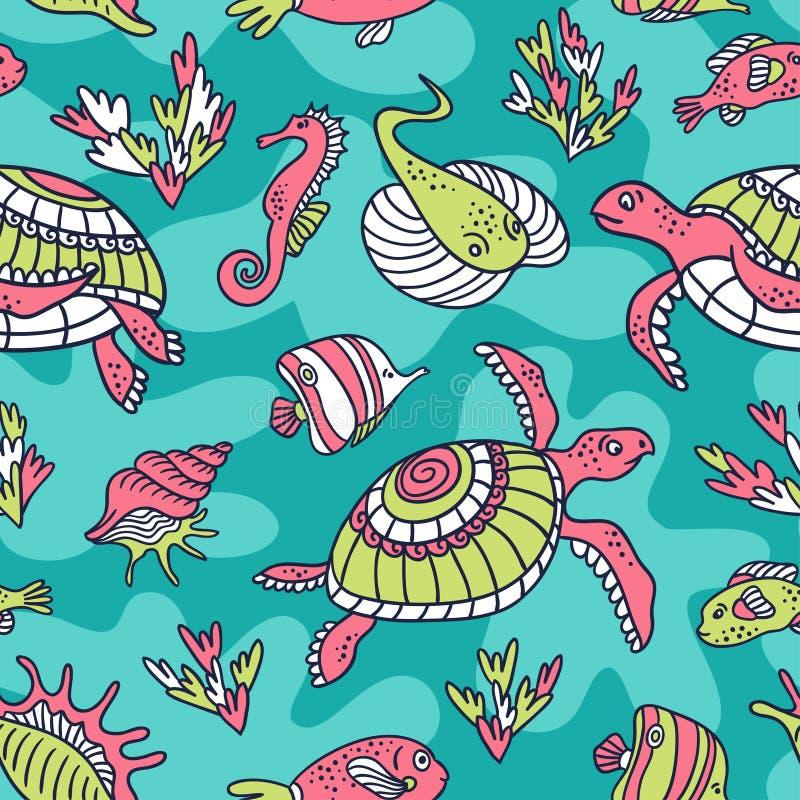 Vector naadloos patroon met oceaanschildpadden, vissen en inwoners van de onderwaterwereld royalty-vrije illustratie