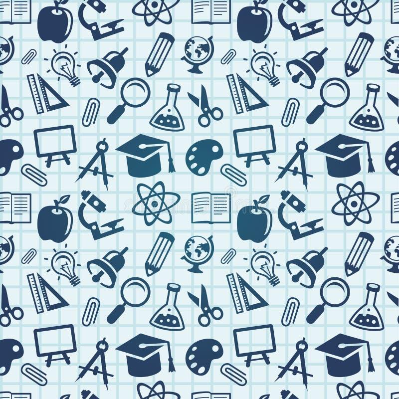 Vector naadloos patroon met onderwijspictogrammen stock illustratie