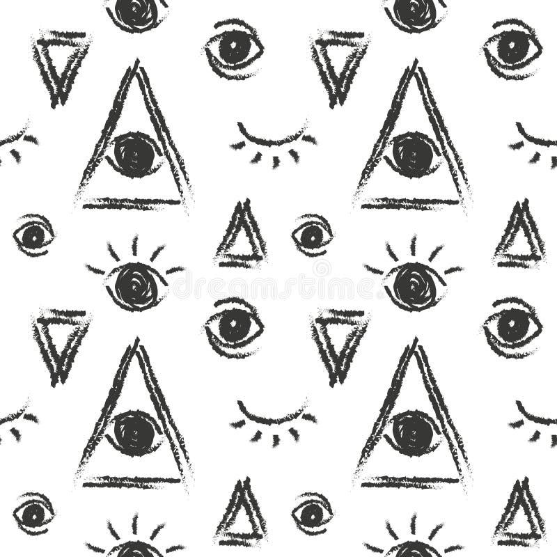 Vector naadloos patroon met oog van voorzienigheid, vrijmetselaars- symbool vector illustratie