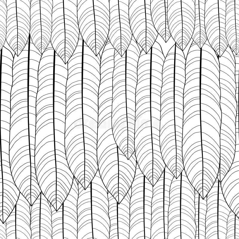 Vector naadloos patroon met overzichts tropische bladeren in zwarte op de witte achtergrond Zwart-wit bloemenpatroon met overlade vector illustratie